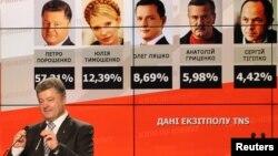 우크라이나 대통령 선거에서 승리한 것으로 보이는 페트로 포로셴코 후보가 출구조사 결과를 보여주는 화면 앞에서 지지자들에게 연설하고 있다.