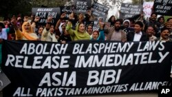 FILE photo - Pakistanis protest against blasphemy laws.