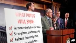 TNS Chuck Grassley, DCH-Iowa, thứ nhì từ bên trái, phát biểu tại một cuộc họp báo về dự luật di trú ở điện Capitol, ngày 1/2/2018 (AP Photo/Alex Brandon)
