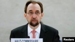 Komisaris tinggi PBB untuk HAM Zeid Raad al-Hussein berbicara di Jeneva, Swiss (17/12).