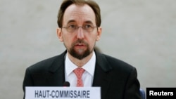 United Nations High Commissioner for Human FILE - Rights Zeid Ra'ad Al Hussein addresses delegates during a special session of the Human Rights Council on the situation in Burundi in Geneva, Switzerland, Dec. 17, 2015.