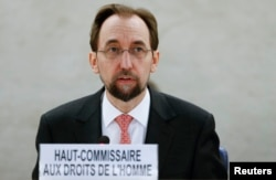 United Nations High Commissioner for Human Rights Zeid Ra'ad Al Hussein addresses delegates during a special session of the Human Rights Council on the situation in Burundi in Geneva, Switzerland, Dec. 17, 2015.