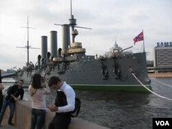 十月革命象征,阿芙乐尔巡洋舰(美国之音白桦)。