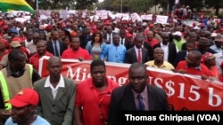 MDC-T leader Morgan Tsvangirai leading the march in Harare.