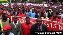 MDC-T leader Morgan Tsvangirai leading the march in Harare.