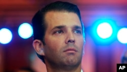 FILE - Donald Trump Jr, the eldest son of U.S. President Donald Trump, speaks at a Global Business Summit in New Delhi, India, Feb. 23, 2018.