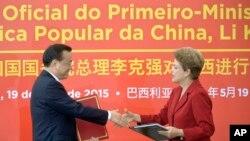 中國總理李克強拉美四國之行5月19日在巴西總統羅塞夫在巴西利亞總統府舉行的歡迎儀式上(2015年5月19日)