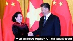 Chủ tịch Quốc hội Nguyễn Thị Kim Ngân hội kiến Tổng Bí thư, Chủ tịch Trung Quốc Tập Cận Bình. (Ảnh: TTXVN)