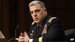마크 밀레이 미 육군참모총장 지명자가 21일 미 상원 군사위원회에서 열린 인준청문회에 출석했다.