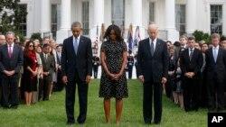 Prezida Barack Obama, umufasha we Michelle, na visi prezida Joe Biden.