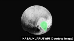 "Peering closely at the ""heart of Pluto,"" New Horizons' Ralph instrument revealed evidence of carbon monoxide ice. The contours indicate that the concentration of frozen carbon monoxide increases towards the center of the ""bull's eye."""