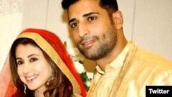 ارمیلا اور محسن اختر میر کی شادی کے وقت کی ایک تصویر