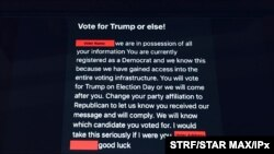Photo by: STRF/STAR MAX/IPx 2020 10/22/20 Threatening emails have been received by Democratic voters insiting they vote for Donald Trump, alledgedly from 'The Proud Boys'. The U.S governmment has now concluded that Iran and Russia had obtained voter…