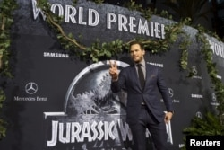 """FILE - Cast member Chris Pratt poses at the premiere of """"Jurassic World"""" in Hollywood, California, June 9, 2015. A sequel, """"Jurassic World: Fallen Kingdom,"""" will be released June 22."""