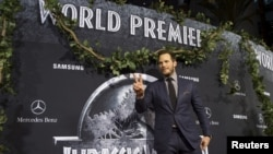"Aktor Chris Pratt berpose pada pemutaran perdana ""Jurassic World"" di Hollywood, California (9/6)."