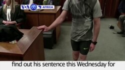 VOA60 Africa 07-04-Former athlete Oscar Pistorius will find out his sentence this Wednesday on murder of his girlfriend