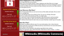 Page affichant le virus WannaCry qui verrouille des ordinateurs dans le monde entier.