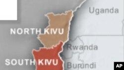 Les deux Kivu en RDC, frontaliers à l'Ouganda, au Rwanda et au Burundi