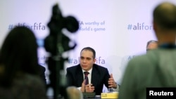 FIFA presidential candidate Prince Ali Al Hussein of Jordan speaks at the Press Club in Geneva, Switzerland, Feb. 11, 2016.