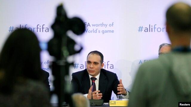FIFA presidential candidate Prince Ali Al Hussein of Jordan speaks at the Press Club in Geneva, Switzerland, Feb. 11, 2016.