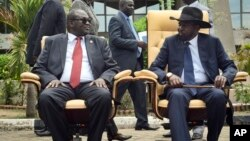 Le président Soudan du Sud Salva Kiir et son vice-président Riek Machar, 29 avril 2016.