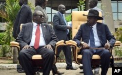 FILE - South Sudan's then-First Vice President Riek Machar, left, looks across at President Salva Kiir, right, as the two sit to be photographed, April 29, 2016.