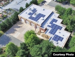 Solar panels on the roof of a fire station in Gaithersburg, Maryland, Montgomery County. (Photo Courtesy of Montgomery County government)
