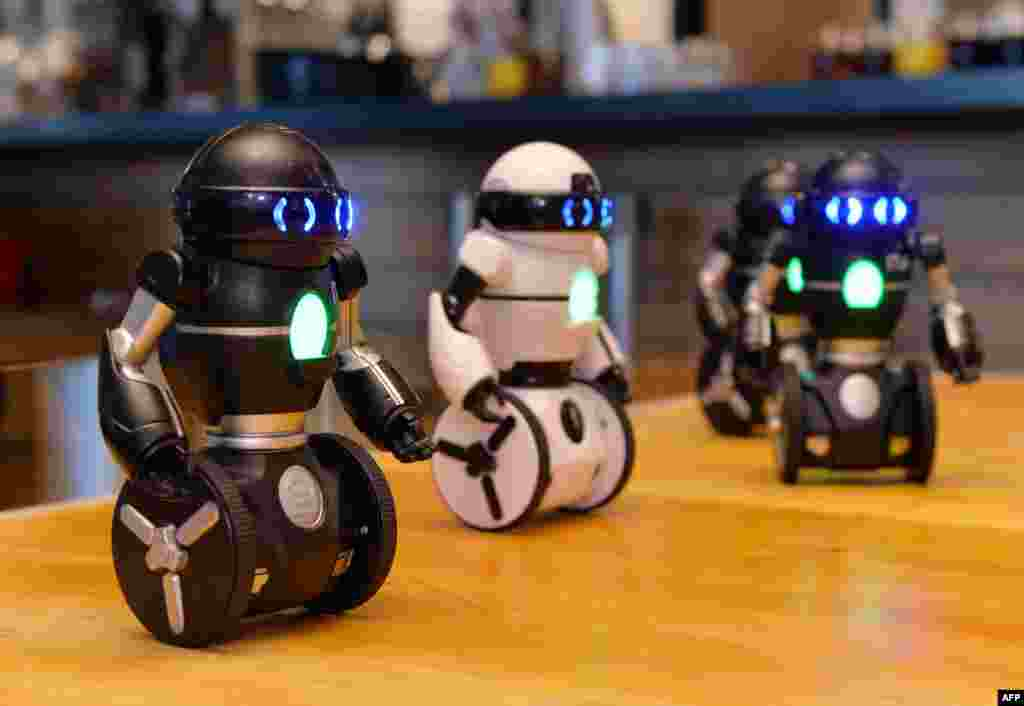 "Two-wheel robots ""MiP"", controlled by smartphone, dance at a toy robot fair in Tokyo."