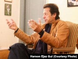 Imran Khan speaks to VOA at his residence near Islamabad.