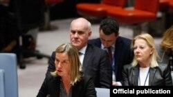 歐盟外交與安全政策高級代表墨格里尼出席聯合國安理會。
