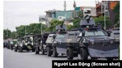 Diễn tập bảo vệ Đại hội Đảng 12 tại Hà Nội vào ngày 8/1/2021. Ảnh chụp màn hình báo Người Lao Động.