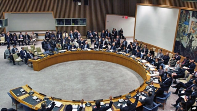 United Nations Security Council diplomats vote on a resolution during a meeting on Libya at UN headquarters in New York, February 26, 2011