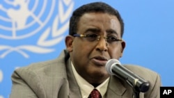 FILE - Somalia's Prime Minister Omar Abdirashid Ali Sharmarke speak to journalists in Nairobi, Kenya about developments in Somalia.