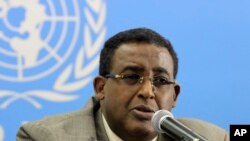 FILE - Somalia's Prime Minister Omar Abdirashid Ali Sharmarke speaks to journalists about developments in Somalia in Nairobi, Kenya.