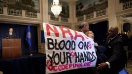 Activist Medea Benjamin, of Code Pink, is led away by security as she protests during a statement by National Rifle Association executive vice president Wayne LaPierre, left, during a news conference in Washington, December 21, 2012.