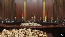 Kombûna navbera Serokê Herêma Kurdistanê Mesûd Barzanê û şanda Encumena Niştîmanî ya Kurdên Sûrîyê.