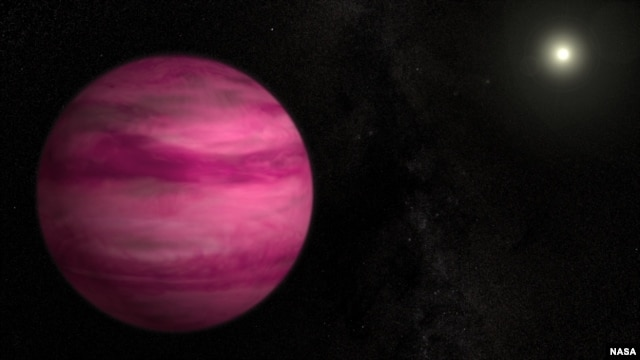 Glowing a dark magenta, the newly discovered exoplanet GJ 504b weighs in with about four times Jupiter's mass, making it the lowest-mass planet ever directly imaged around a star like the sun. Image Credit: S. Wiessinger