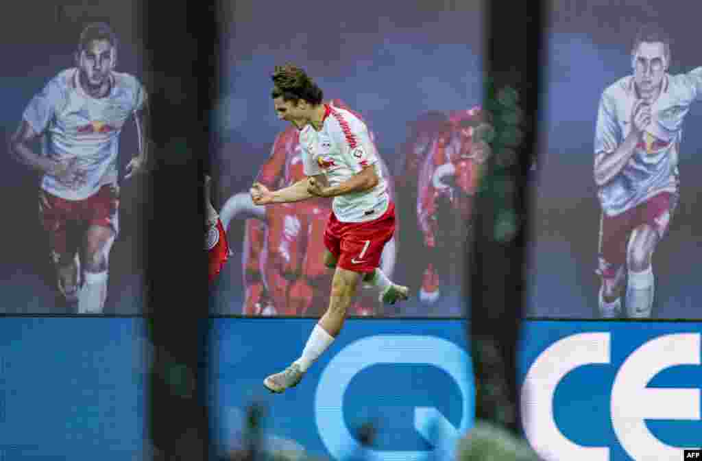 Leipzig´s Austrian forward Marcel Sabitzer celebrates the third goal during the German first division Bundesliga football match RB Leipzig vs FC Nuremberg in Leipzig, eastern Germany.
