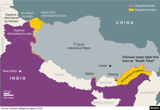 Map shows border disputes between China and India.