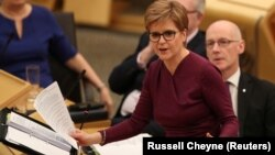 Scotland's First Minister Nicola Sturgeon attends First Minister's Questions in the Scottish Parliament in Edinburgh, Scotland, Britain, December 19, 2019. (REUTERS/Russell Cheyne)