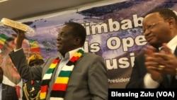 Zimbabwe President Emmerson Mnangagwa in New York with Zimbabwe Ambassador to the United Nations, Frederick Shava.