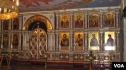 滴血教堂中末代沙皇和家人的圣象(美国之音白桦拍摄)