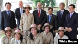 U.S. Deputy National Security Advisor Benjamin Rhodes with a demining team in Laos.