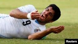 Cầu thủ Luis Suarez của đội Uruguay phản ứng trong trận đấu với đội Italia tại Sân vận động Dunas tại Natal.