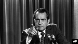 President Richard Nixon tells a White House news conference on March 15, 1973, that he will not allow his legal counsel, John Dean, to testify to Congress in the Watergate investigation