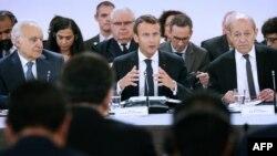 Le président français Emmanuel Macron lors d'une conférence internationale sur la Libye, Paris, le 29 mai 2018.