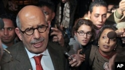 Former Director General of the International Atomic Energy Agency, IAEA, and Nobel Peace Prize winner Mohamed ElBaradei talks to members of the media as he arrives at Cairo's airport in Egypt, from Austria, January 27, 2011.