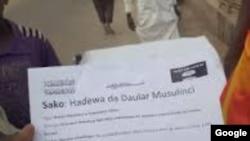 Takardar da Boko Haram Suka Rarraba A Geidam