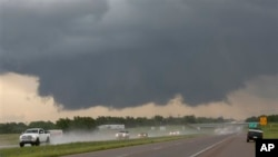A wall cloud forms near Purcell, Oklahoma. The state often has tornadoes and other extreme weather.