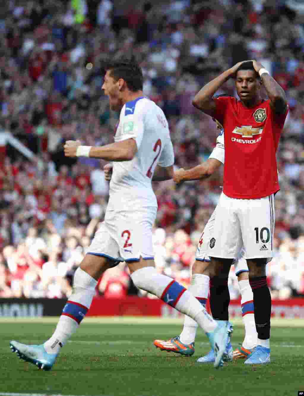 واکنش مارکوس رشفورد، بازیکن منچستر یونایتد به از دست دادن ضربه پنالتی؛ منچستر یونایتد این بازی را با نتیجه دو بر یک به کریستال پالاس واگذار کرد.